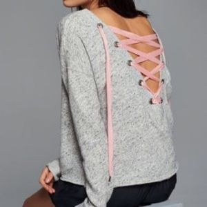 A&F Ballet Pullover Lace Up back Sweatshirt Sz Sm